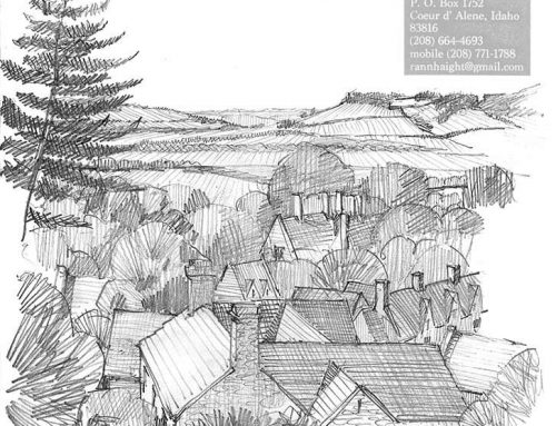 View from Mount Inn – Pencil Sketch