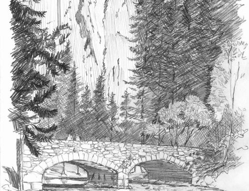 The Ahwahnee Bridge – Pencil Sketch